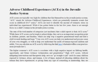 Adverse Childhood Experiences (ACEs) in the Juvenile Justice System
